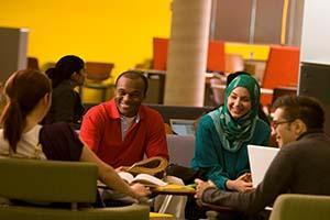 Image of McMaster Science undergraduate students sitting in a study group in Thode library